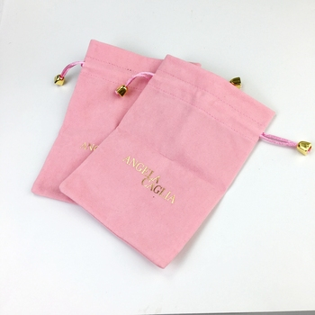 High quality pink velvet jewelry pouch bag with custom logo