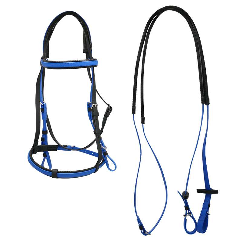 Weather Resistant PVC Equestrian <strong>Horse</strong> Riding With Single Nose Band Blue Color