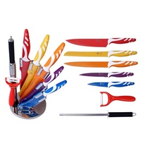 acrylic block Royalty line non stick coating knife set with sharpener
