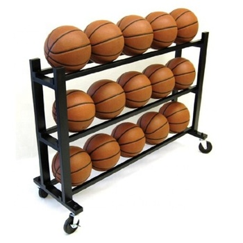 3Tier Ball Basket Kids Basketball Stands Soccer Ball Holder with Wheel