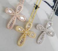 2019 hot sale jewelry silver gold rose zircon cz cross pendant necklace