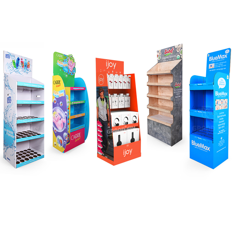 Custom Reclame Kartonnen Verlader Display Plank Rack, Kartonnen POP Vloer Display Stand