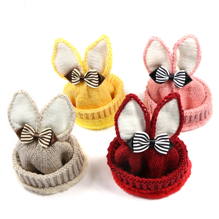 2019 <strong>New</strong> Style Children's Wool Knitted <strong>Hat</strong> Outdoor Warm Knit <strong>Hat</strong> Striped Bow Rabbit Ears Wool <strong>Hat</strong>
