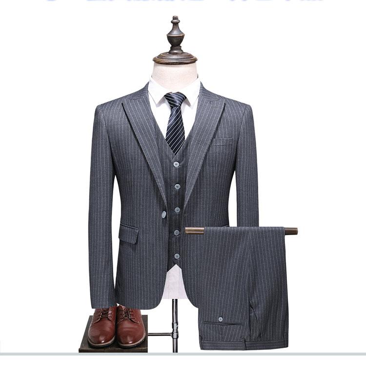 The Three Pieces Of Vertical Stripe Men's Formal Business Suit Buy Men's Suit,Men's Vertical Stripe Suit,Business Suit Product on