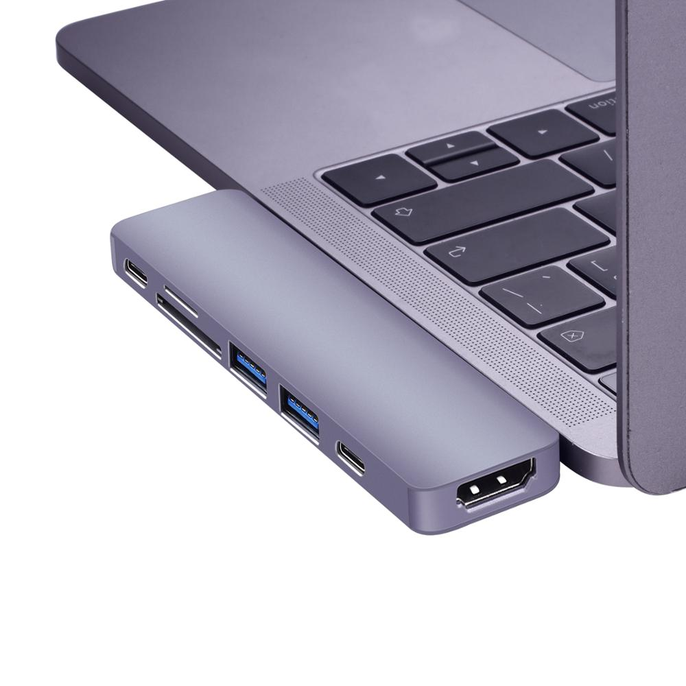 Aluminium USB C Hub Met TF/Sd-kaartlezer 2 USB 3.0 Poort Type C Hubs Sp-lite adapter Voor Macbook Pro 13 15 USB-C Power Levering