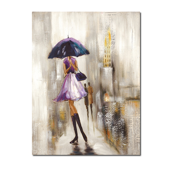 Umbrella girl in the alley canvas Handmade Beautiful Girl Picture Art Wall