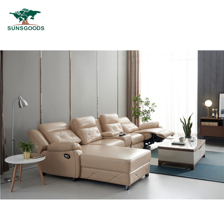 Reclining Cream Sofa Set Leather