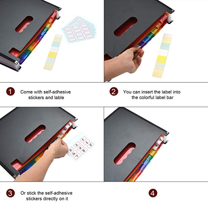24 Pockets A4 Accordion File Organizer/Multicolor Portable Expanding Wallets/Large Capacity Plastic Bag with Colored Tab