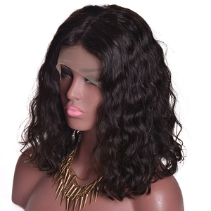 Ruiyu cheap human hair 14 inch natural wave bob wig lace front wig with natural hairline