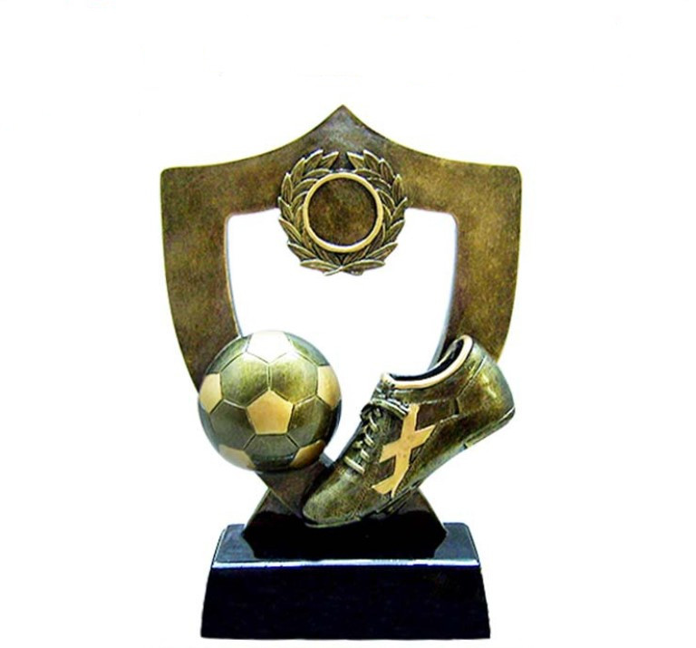Promotional factory cheap custom 3d football football resin trophy