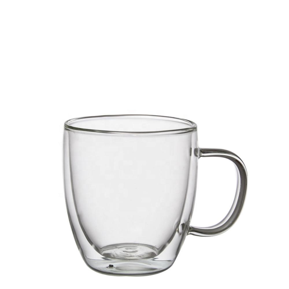 Personnalisé grand réutilisable isolé double paroi tasses à café en verre