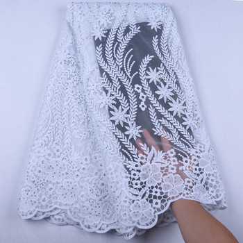 Embroidery White African Lace Fabric With Stones For Party Wholesale Price Beaded Embroidery Bridal Lace For Wedding  1571