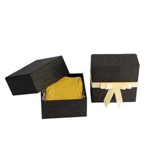 Custom black gold luxury ribbon closure clothes rigid gift box with lid