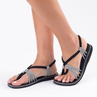 zm31235c Hot style big size new summer women beach toe knot sandals