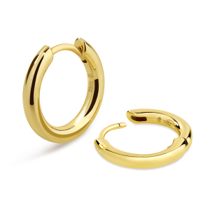 KRKC&CO 15mm Round Hoop Earrings Made of 925 Sterling Silver Plating with 14K Gold