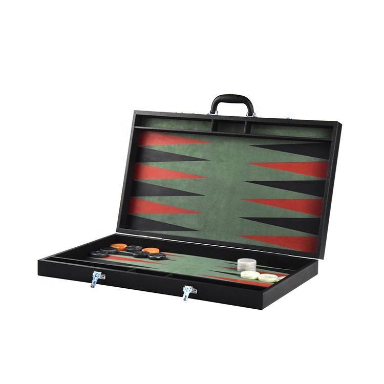 Di alta qualità in pelle custom design backgammon dama set con logo personalizzato