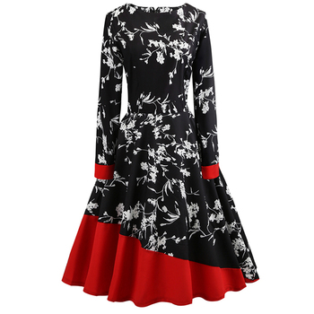 Floral Print Girl Women Long Dresses Wedding Anniversary Red Winter Vintage Irregular Chic Cotton Black Christmas Dress