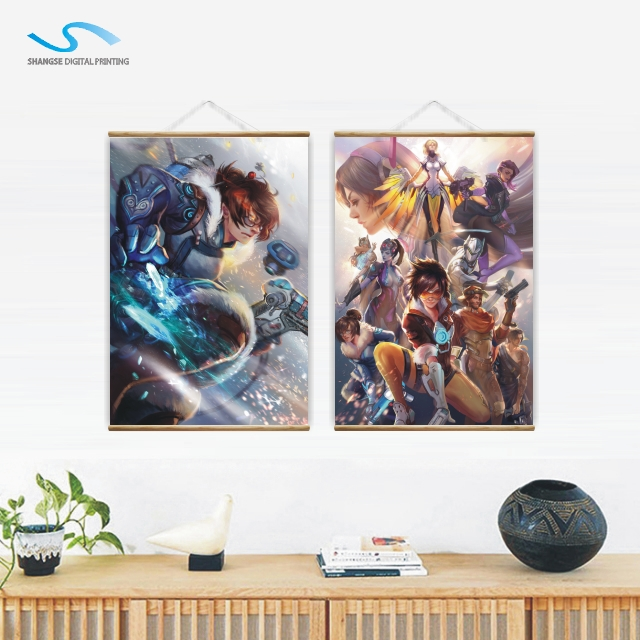 OEM Customized Digital Printing Anime Hanging Banners Personalised Wood Wall Scroll Japanese Anime