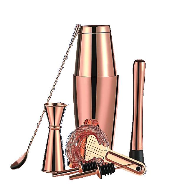 Amazon Top Seller 2019Cocktailshaker 28 OZ 304 Stainless Steel Rose Gold Boston Shaker Set for bartender kit of 8 pieces