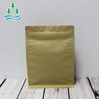 custom printed 500g food grade kraft paper flat bottom with zipper rectangular window plastic lined snack pouch