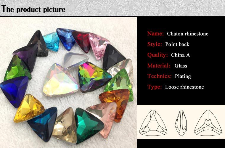 W0103 Triangel gemstones non flat back glass rhinestones pointback glass gemstones