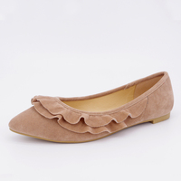 fancy design suede rubber pointe flat shoes for girls favor