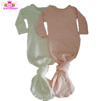 Wholesale Boys Girls Sleep Gowns solid color infant Baby Night Gown Ringer with Fold Over mitten