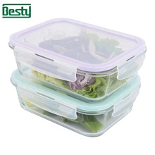 BPA フリー真空ガラス食品容器セット/食品収納セット/弁当弁当セット簡単移動 PP 蓋マイクロ波安全
