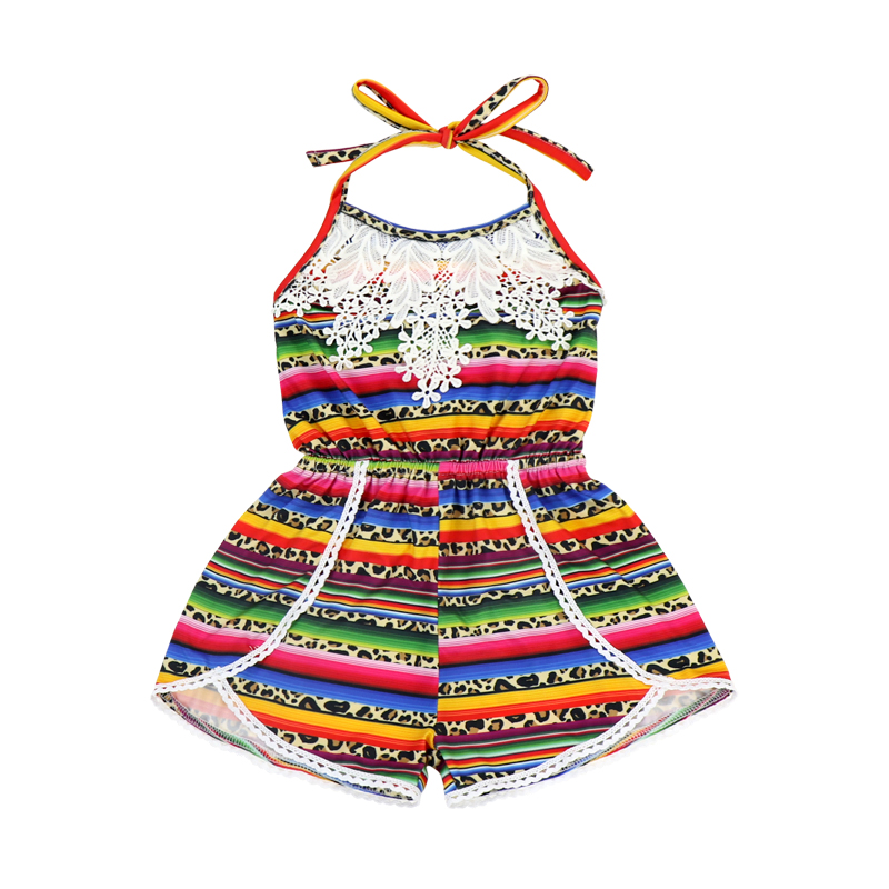 2019 Hot Lovely Serape print baby rompers clothes cheap halter rompers for children backless girls summer rompers for 0-6 years