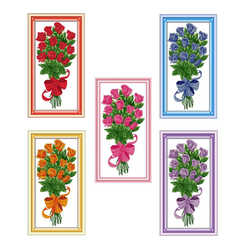 Nkf o presente flor rosa bordado ponto cruz diy 11ct 14ct bordado artesanal ponto cruz kit para costura