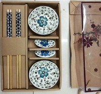 Japanese irregular tableware 6 pcs ceramic saucer dish chopstick and chostpck rack sets for festival gifts
