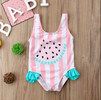 New One Piece Swimsuit Watermelon Bikini Beach Swimwear Swim Pool Print Tankini Sweet Cute Cartoon Girl Child Children Swimsuit