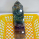 Natural green and purple fluorite point rainbow fluorite crystal point for sale