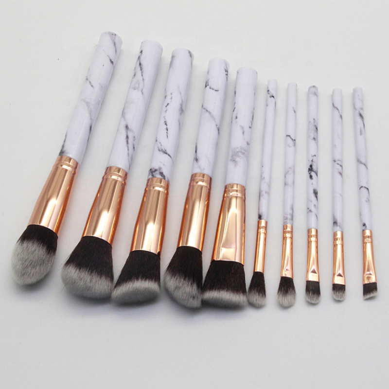 Hohe qualität individuelles logo make-up pinsel 10 pcs Marmor griff make-up pinsel set