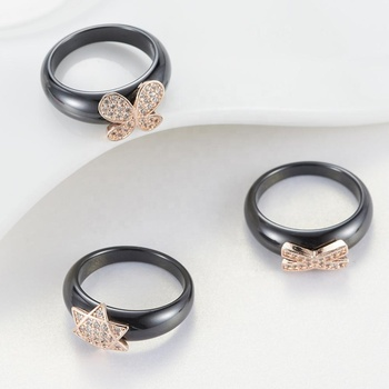 Korea styles ceramic diamond rings shape star butterfly tail rings for grace woman