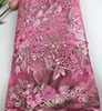 Hot sales nigerian 3D lace applique embroidery french pink african lace fabrics