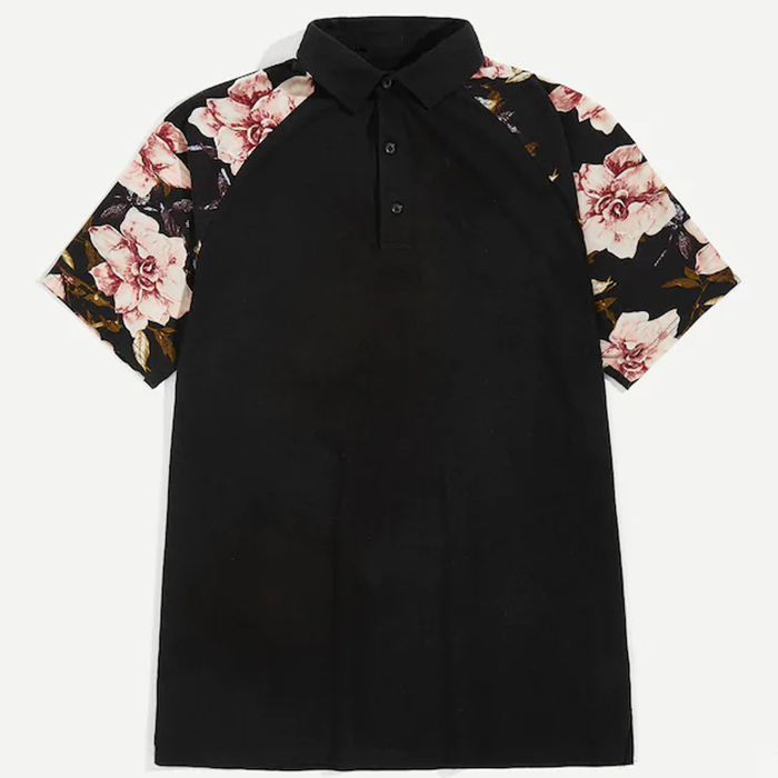 new fashion design flower print raglan sleeve mens high quality polo <strong>shirt</strong>