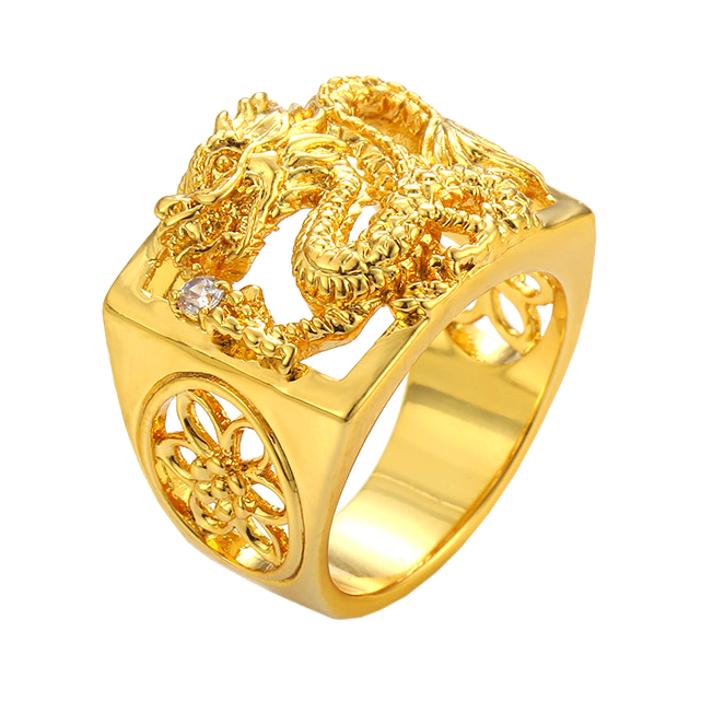 AR71202701 xuping dragon 24k gold plated brass jewelry+rings jewelry+dubai gold rings mens jewelry
