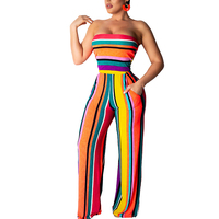Fashion Club Wear Jumpsuit Strapless Ankle Length Women Stripe Jumpsuit Pocket