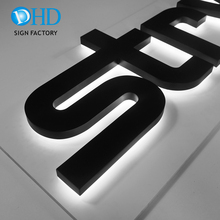 Attractive led storefront stainless steel back lighted signs led advertising board led backlit letter sign acrylic logo