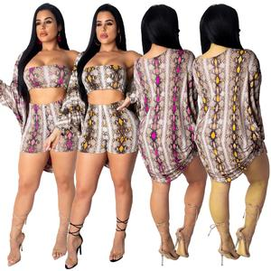 Fashion Snake Print Crop Top cover up mini short three piece set beachwear outfits