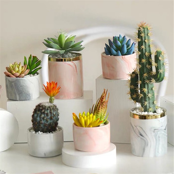 Unique gift item wedding decoration table ornaments small marble ceramic succulent pots with golden rim