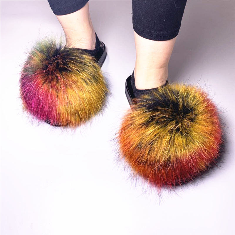 2019 New Fashion Genuine Fur Fluffy Autumn And Winter Slippers Home Fur Slides Sandals For Women Slides Shoes Fur