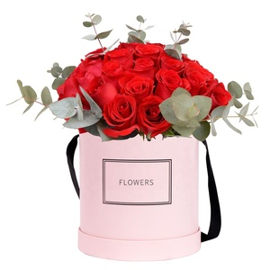 luxury custom logo printed round pink cardboard wholesale rose box