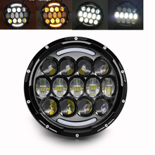 Super Bright 75W 25W 12V 24V Auto Turn Signal Daytime Running Lights 7 Inch Angel Eye Amber Led Headlight