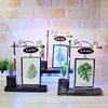 Wholesale creative home desktop decoration craft ornaments personality wrought iron luminous hydroponic photo frame gift