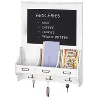 Vintage White Wood Wall Mounted Mail Organizer with Chalkboard and Key Hooks