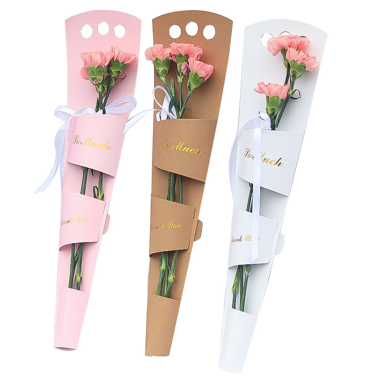 custom printed luxury preserved cardboard gift rose long cone single flower boxes