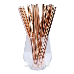 197mm*6mm Party Favors Eco Friendly Rose Gold Paper Straws