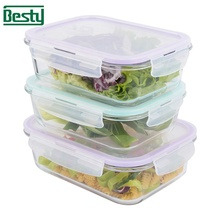 Retangular glas voedsel container/lunch box/voedsel opslag met tas voor <span class=keywords><strong>kantoor</strong></span>/camping